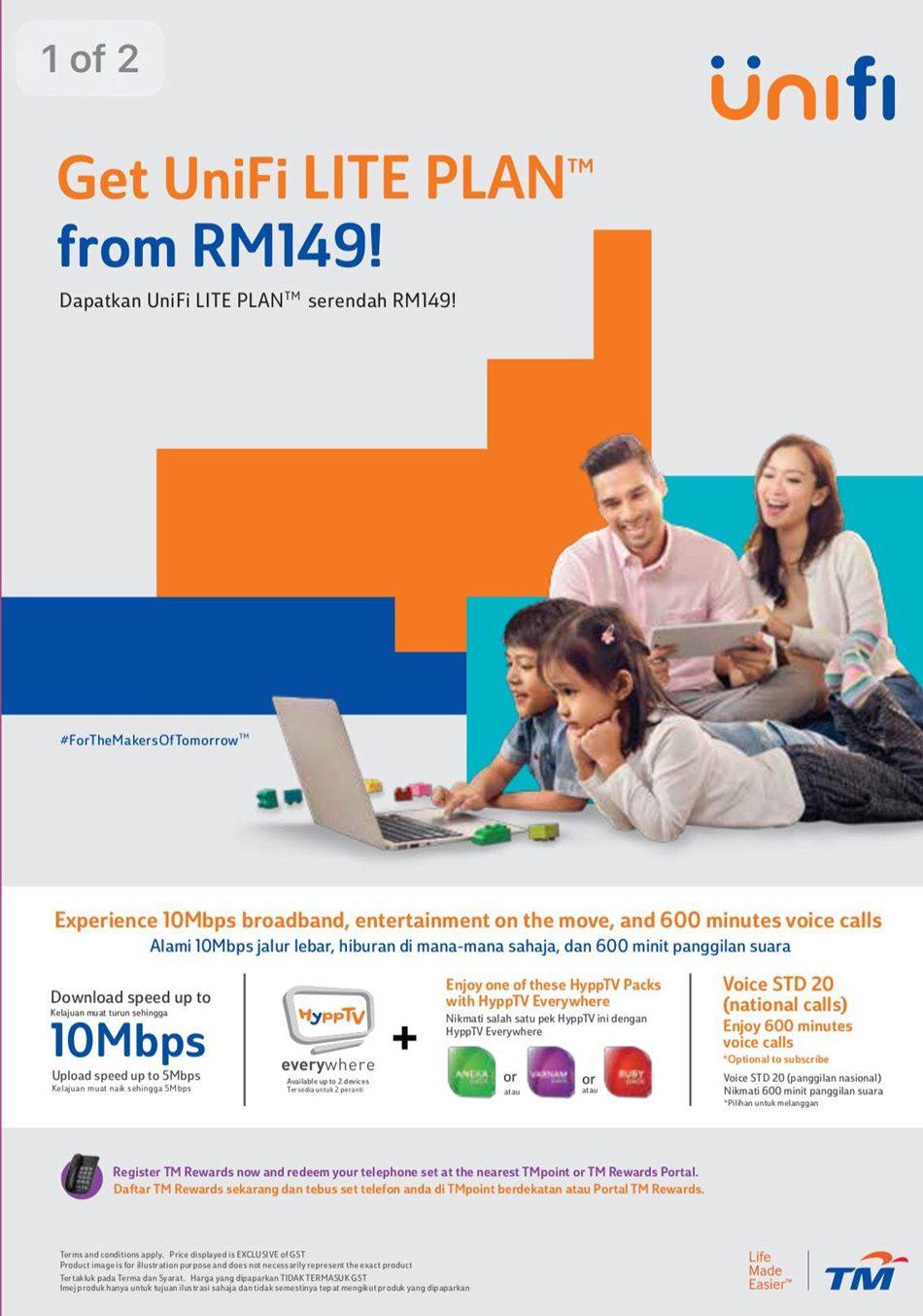 Unifi Lite Plan RM149 - 10Mbps download speed, No HyppTV set-top box? 1