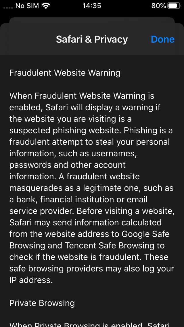 Safari privacy controls