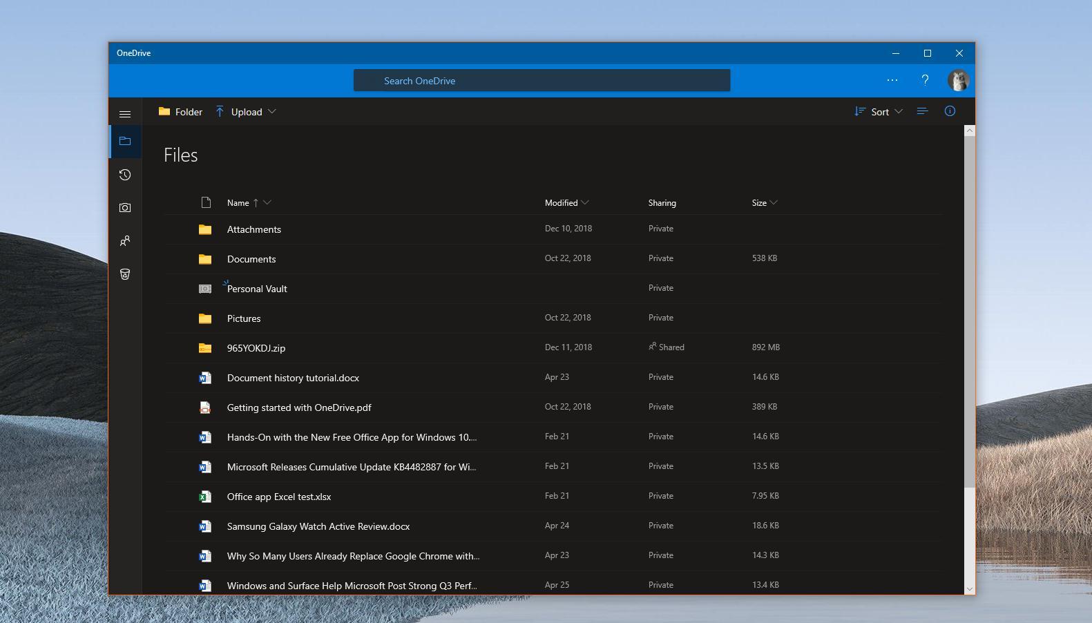Dark mode for OneDrive on Windows 10