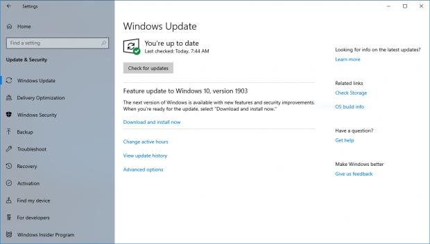 When no compatibility issues are detected, feature updates show up in Windows Update